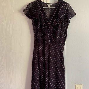 Blue and pink polka dot dress